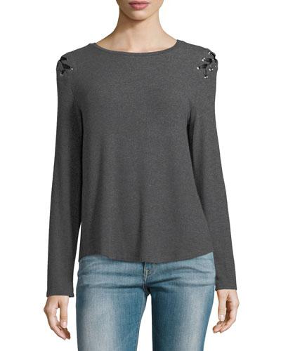 Pauline Long-Sleeve Lace-Up Sweater