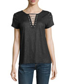 Hugo Lace-Up Metallic Linen Top