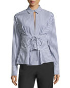 Lace-Up Long-Sleeve Striped Poplin Shirt