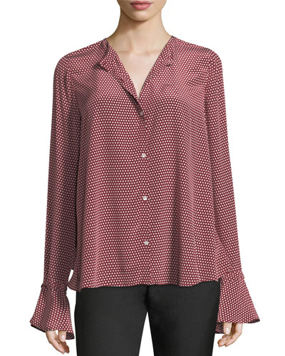 Star-Print Button-Front Open-Back Silk Blouse