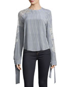 Split-Back Striped Blouse with Lace Inset