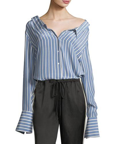 Striped Button-Front Gathered-Back Silk Satin Shirt