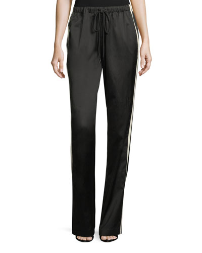 Side-Stripe Drawstring Satin Track Pants
