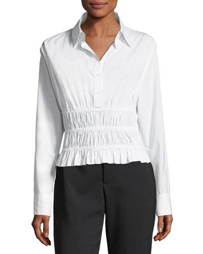 Shirred-Waist Long-Sleeve Cotton Poplin Shirt