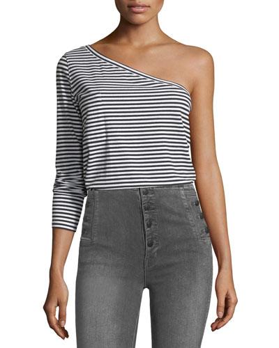 One-Shoulder Long-Sleeve Striped T-Shirt