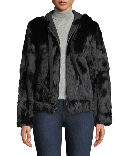 Hooded Zip-Front Fur Jacket