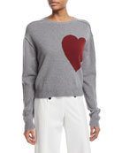 Heart Crewneck Wool-Cashmere Pullover Sweater
