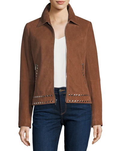 Suede Zip-Front Studded Jacket