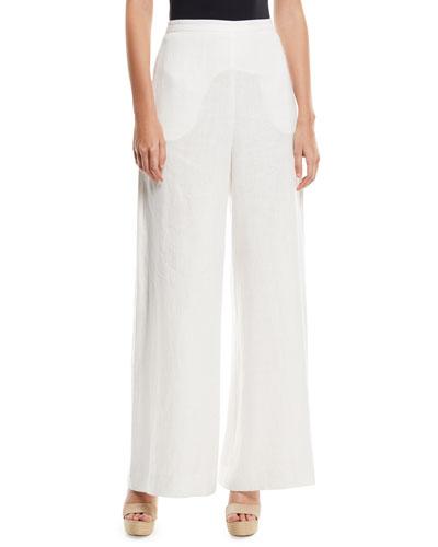 Lovelorn High-Waist Wide-Leg Linen Trousers
