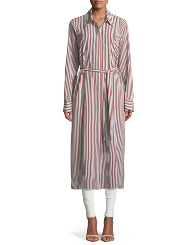 Button-Front Belted Long Striped Shirt