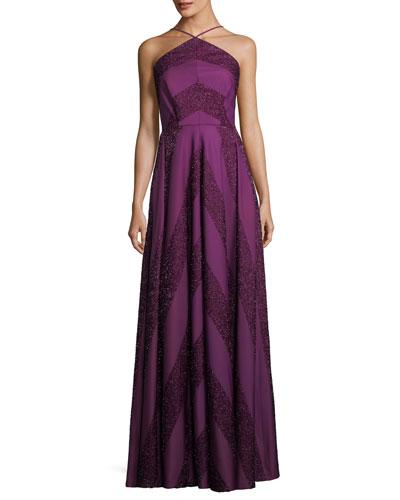 Renata Glitter Chevron A-Line Halter Dress