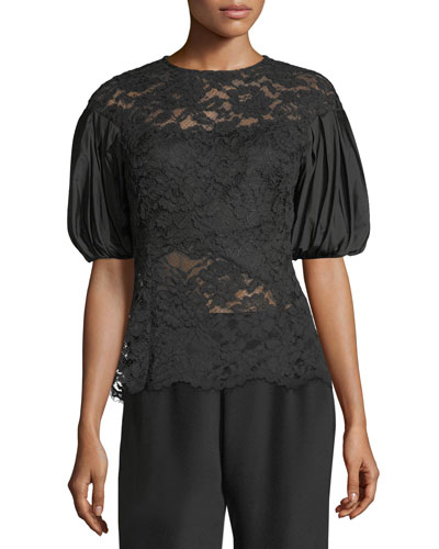Taffeta Puff-Sleeve Lace Top