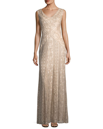 V-Neck Sleeveless Sequin Embroidered Gown