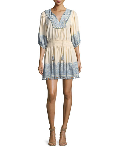 Helm Split-Neck Half-Sleeve Short Coverup Dress