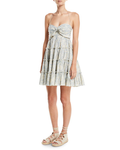 Helm Printed Tiered Swing Coverup Dress