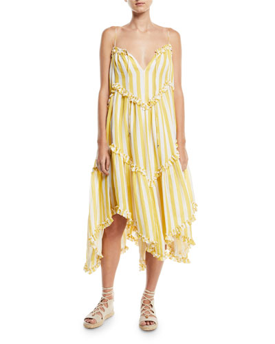 Lumino Floating Stripe Linen Coverup Dress