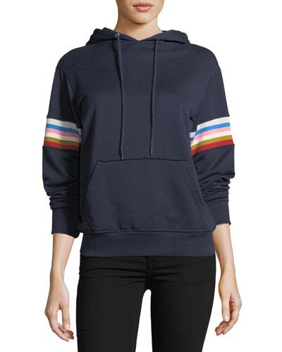 Drawstring Fleece Hoodie with Multicolor Rib-Insert