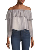 Jobett Off-the-Shoulder Metallic Blouse