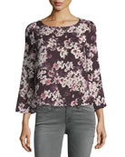 Jerrin Button-Down Back Floral-Print Blouse