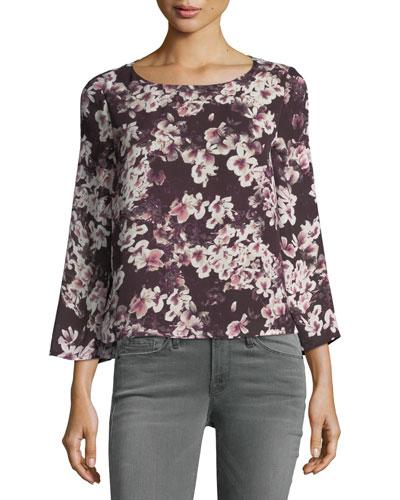 Jerrin Button-Down Back Floral-Print Blouse