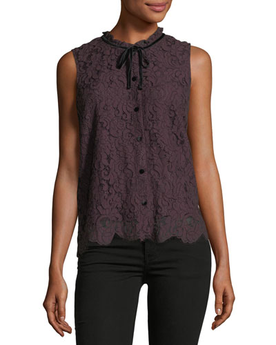 Isra Button-Front Lace Top