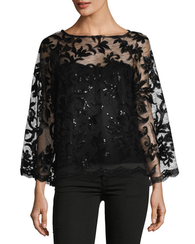 Long-Sleeve Sequined Georgette Blouse
