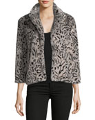 Belle Collared Faux-Fur Leopard-Print Jacket