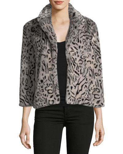 Belle Collared Faux-Fur Leopard-Print Jacket