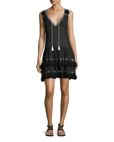 V-Neck Sleeveless Cotton Dress with Embroidery & Fringe