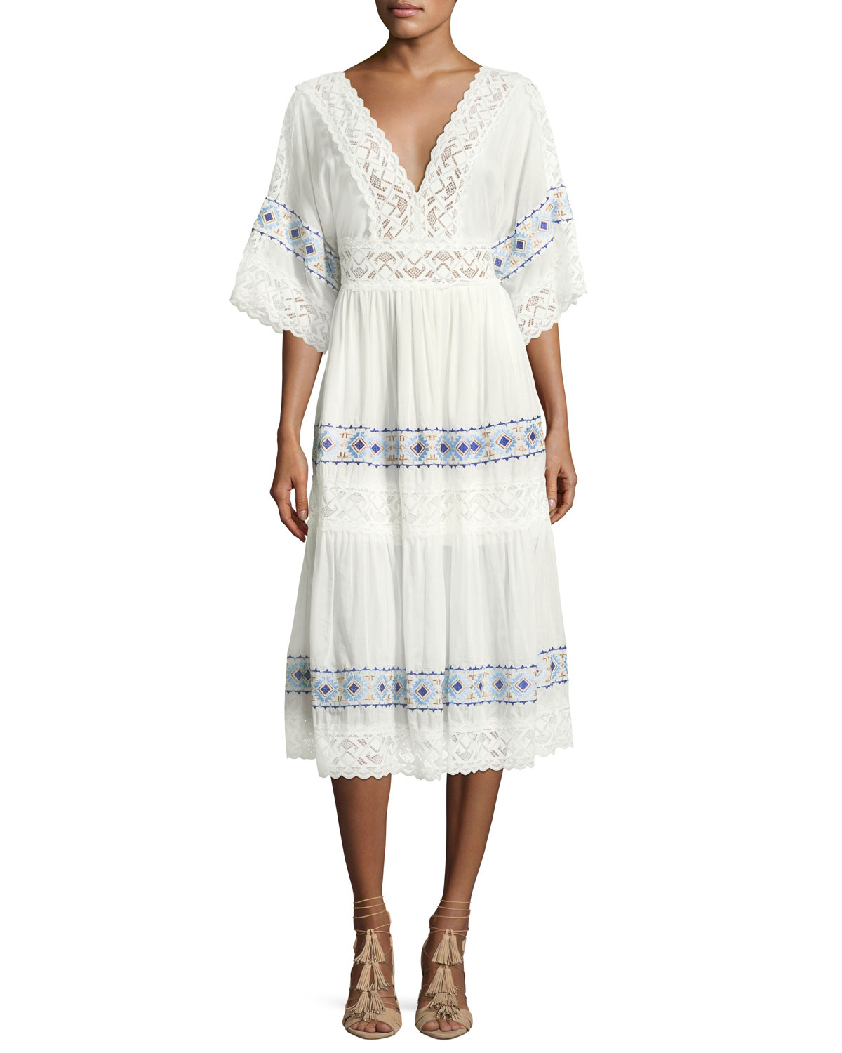 Anatole Deep-V Cotton-Silk Voile Midi Dress with Lace