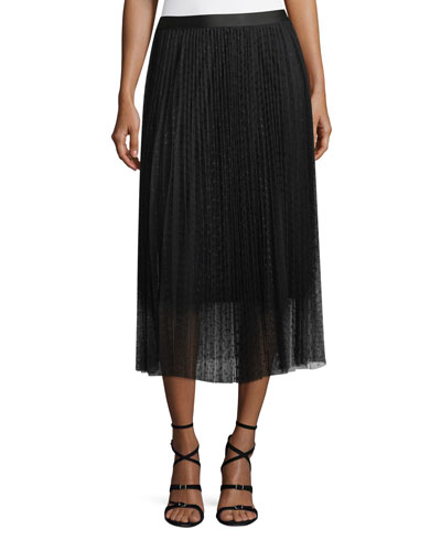 Pleated Polka-Dot A-Line Midi Skirt