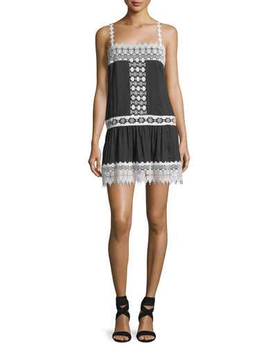 Cotton-Silk Blend Mini Dress with Lace Details
