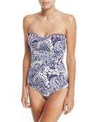 Paisley Paradise Shirred Bandeau-Neck One-Piece Swimsuit