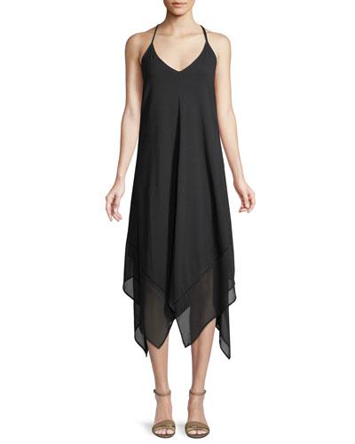 Sleeveless V-Neck Scarf Coverup Dress