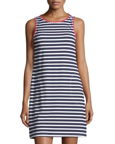 Breton Striped Crewneck Coverup Tank Dress
