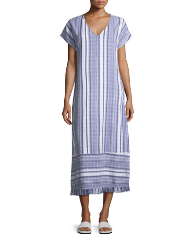 Tommy Bahama  V-NECK DOLMAN-SLEEVE STRIPED COTTON TEA-LENGTH COVERUP DRESS