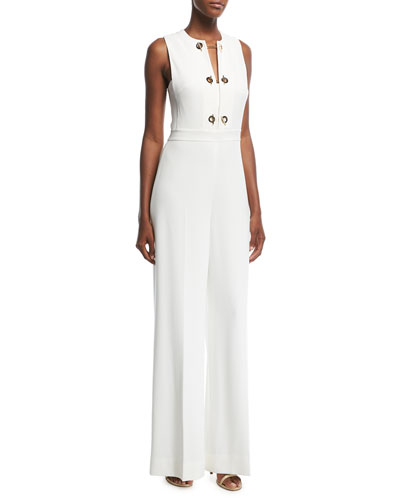 Sleeveless Jumpsuit with Grommet Detail