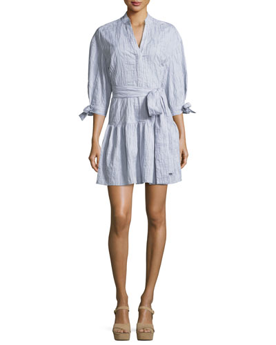 3/4-Sleeves Belted Textured Cotton Shirtdress