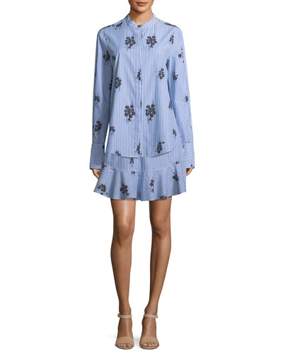 2-in-1 Striped Floral-Print Shirtdress with Flounce Hem
