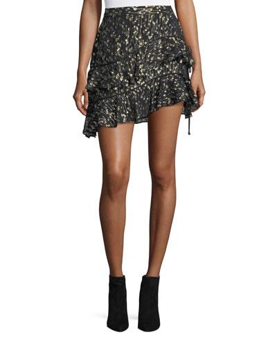 Tiered Ruffled Silk Chiffon Skirt with Metallic