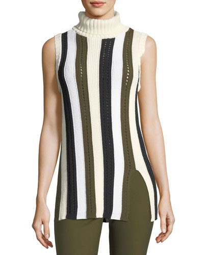 Sleeveless Striped Knit Turtleneck Sweater