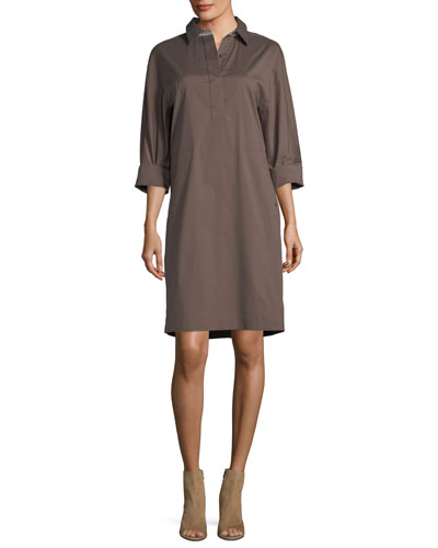 Mario Stretch-Cotton Shirtdress with Collar Detail