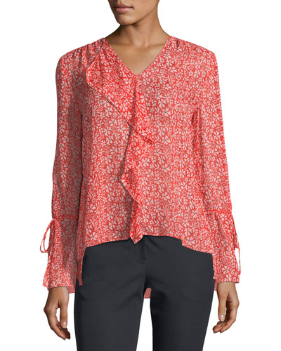 Long-Sleeve Floral-Print Silk Chiffon Blouse