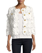 Floral Crochet Jacket, Plus Size
