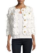 Floral Crochet Jacket, Plus Size