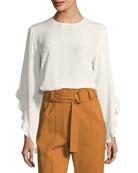 Hera Long-Sleeve Silk Top