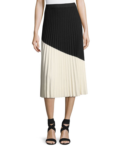 Colorblocked Pleated Midi Skirt
