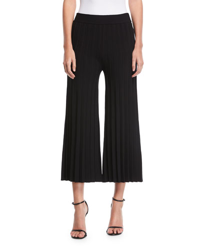 Flared Pleated Jersey Pants