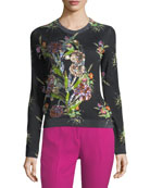 Crewneck Multicolor Floral-Print Sweater with Sequins