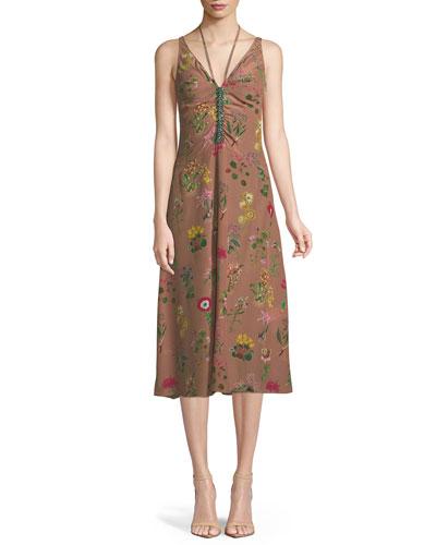 Floral-Print V-Neck Silk Midi Dress with Jeweled Embellishment